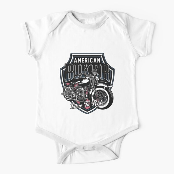 Classic Motorbike Emblem - Live To Ride Short Sleeve Baby One-Piece