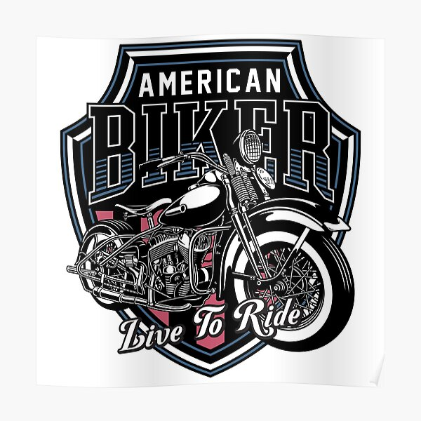 Classic Motorbike Emblem - Live To Ride Poster