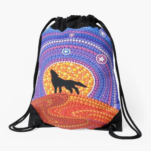 Night of the Wandering Wolf Drawstring Bag