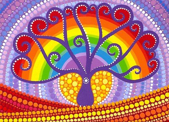 Rainbow Boab Tree of Life by Elspeth McLean