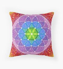 Sunny Flower of Life Throw Pillow