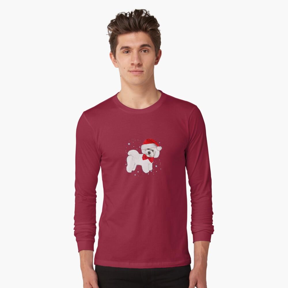Bichon Frise Santa Hat Long Sleeve T-Shirt