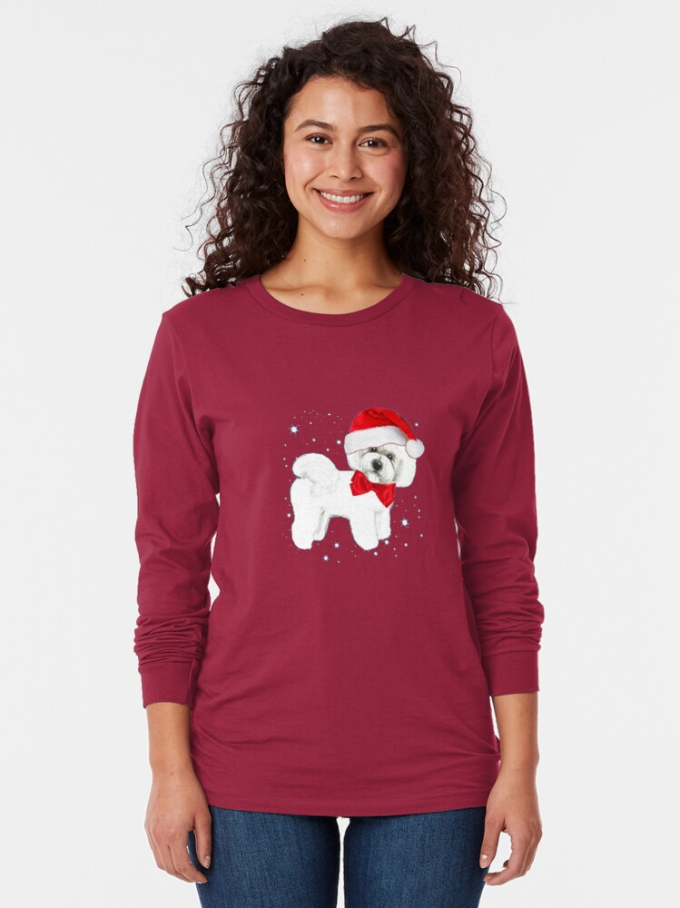 Alternate view of Bichon Frise Santa Hat Long Sleeve T-Shirt