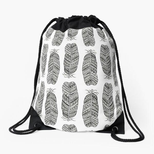 Bohemian Feathers Drawstring Bag