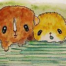 Guinea Pigs Three, cavy, pigs, piglets by Edgot Emily Dimov-Gottshall