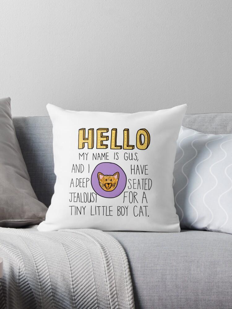 'Psych- Little Boy Cat' Throw Pillow by jimhalpert
