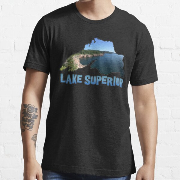 Lake Superior Outline and North Shore in Minnesota Essential T-Shirt