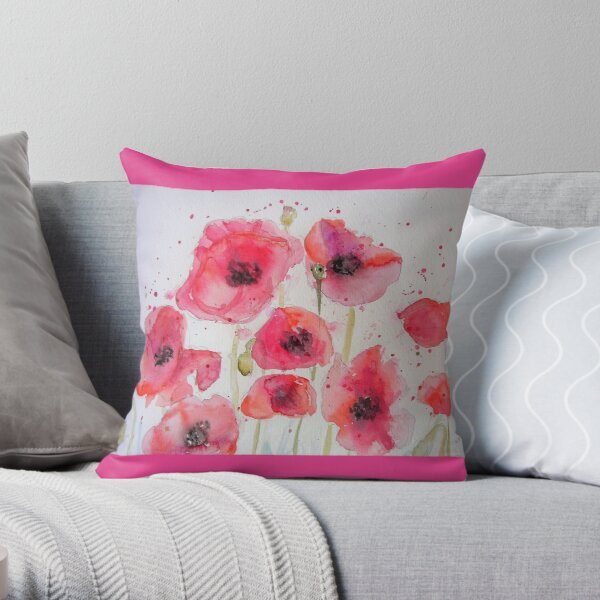 Red Poppy Party Watercolor flower Painting Throw Pillow