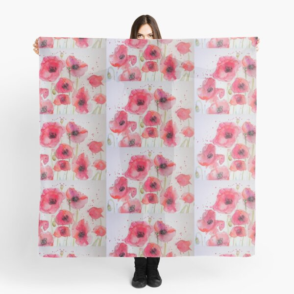 Red Poppy Party Watercolor flower Painting Scarf
