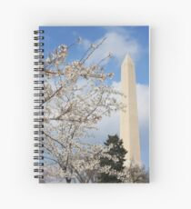 Washington Monument and the Cherry Blossoms Spiral Notebook