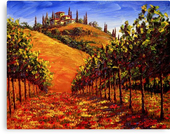Tuscany Vineyard on the Hill by sesillie