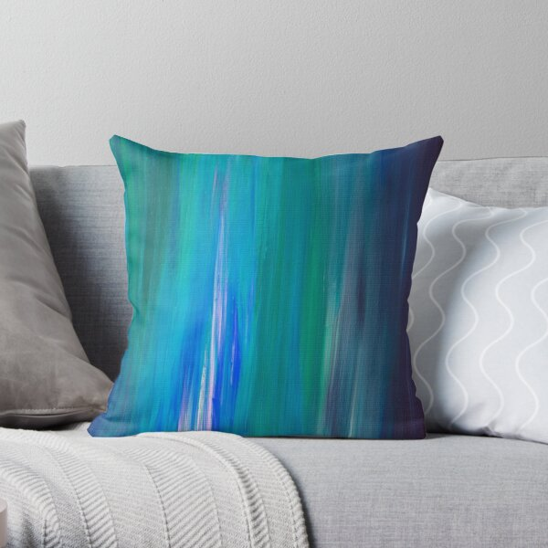 IRRADIATED BLUE Colorful Fine Art Indigo Teal Turquoise Modern Abstract Acrylic Painting Throw Pillow
