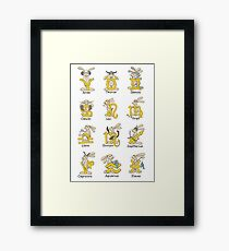 The Twelve signs of the Wabbit Zodiac Framed Print