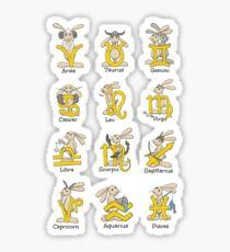 The Twelve signs of the Wabbit Zodiac Sticker