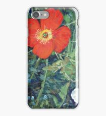 Garden with Bright Red and White Poppies iPhone Case/Skin