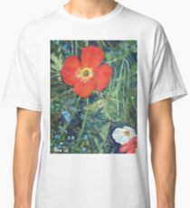Garden with Bright Red and White Poppies Classic T-Shirt