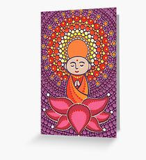 Jizo Meditating upon a Ruby Lotus Greeting Card