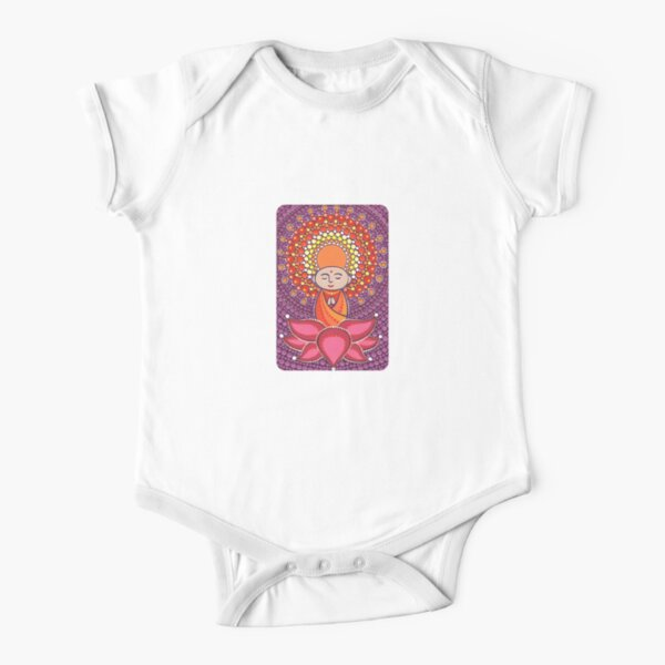 Jizo Meditating upon a Ruby Lotus Short Sleeve Baby One-Piece