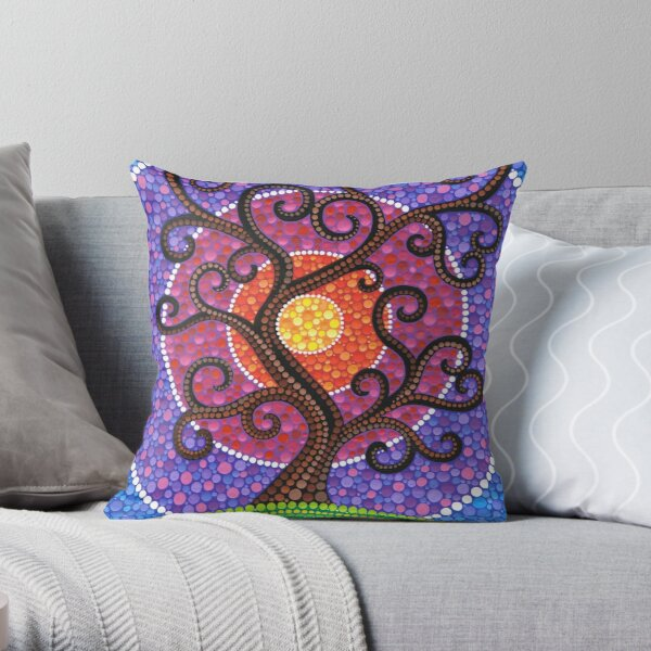 Spiralling Tree of Life Throw Pillow