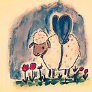 Sheep, lamb, heart, flowers by Edgot Emily Dimov-Gottshall