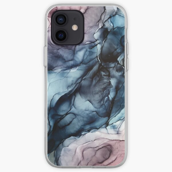 Blush and Darkness Abstract Alcohol Ink Painting iPhone Soft Case
