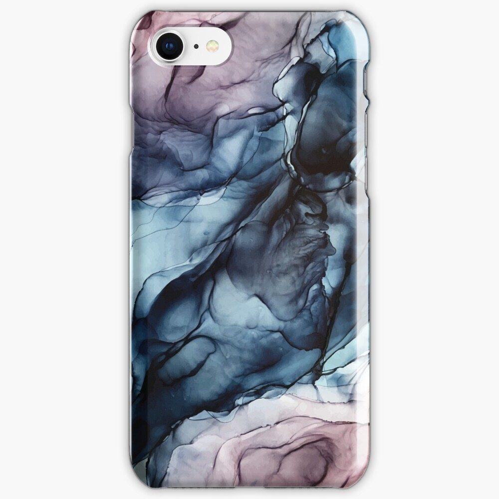 Blush and Darkness Abstract Alcohol Ink Painting iPhone Case & Cover