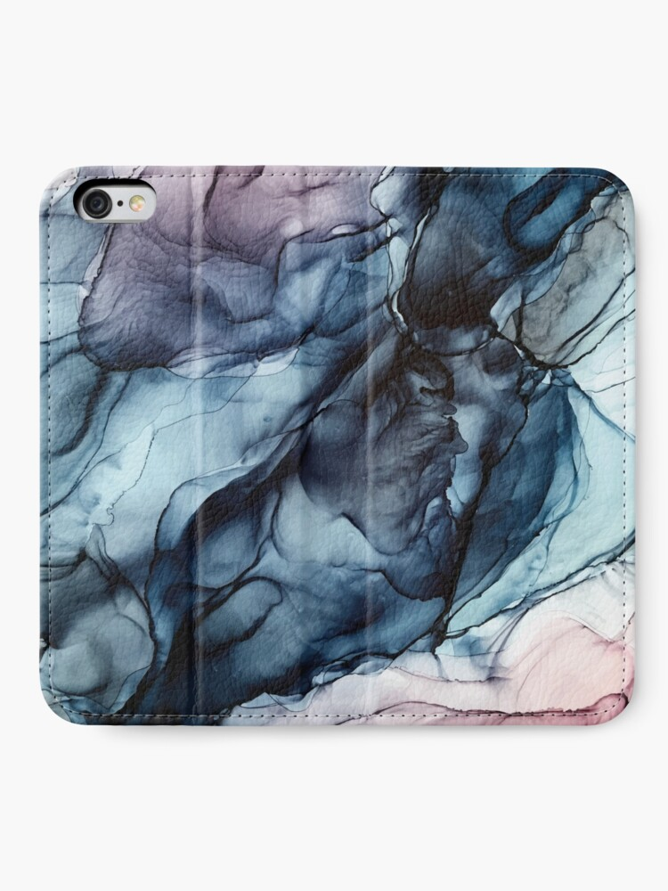 Alternate view of Blush and Darkness Abstract Alcohol Ink Painting iPhone Wallet