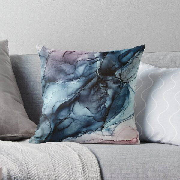 Blush and Darkness Abstract Alcohol Ink Painting Throw Pillow