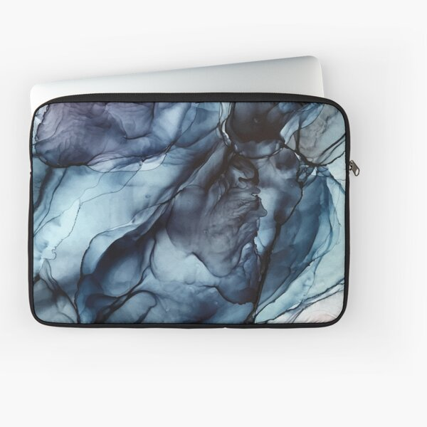 Blush and Darkness Abstract Alcohol Ink Painting Laptop Sleeve