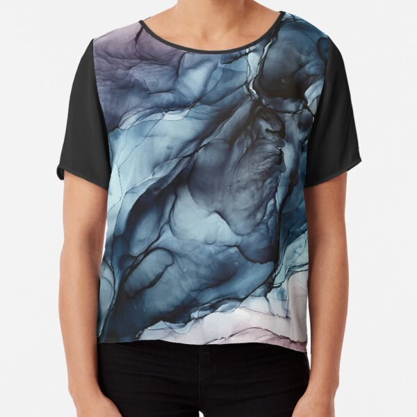 Blush and Darkness Abstract Alcohol Ink Painting Chiffon Top
