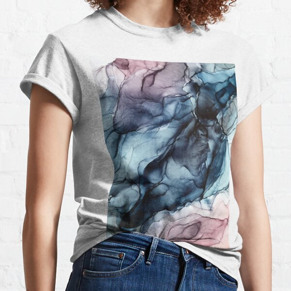 Blush and Darkness Abstract Alcohol Ink Painting Classic T-Shirt
