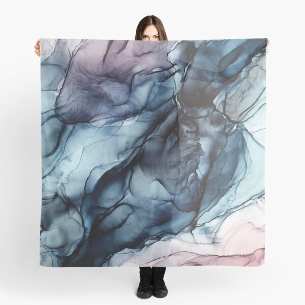Blush and Darkness Abstract Alcohol Ink Painting Scarf