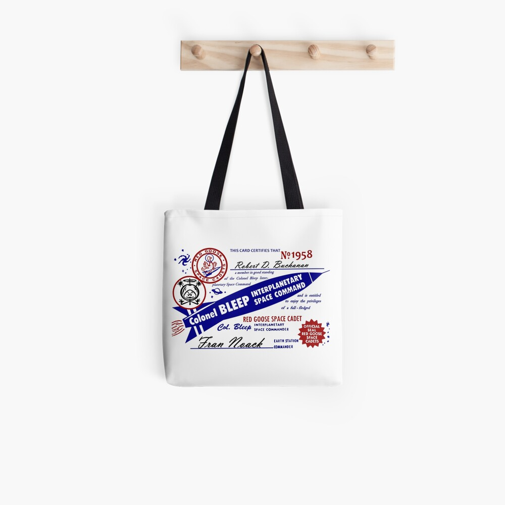 Colonel Bleep Interplanetary Space Command Membership Card Tote Bag
