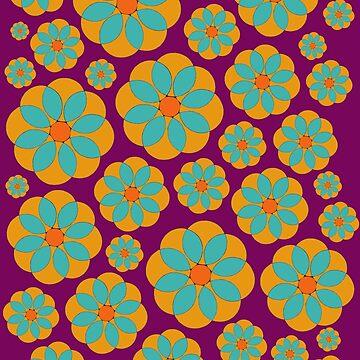 Hippie Orange Blue Daisy  by Surrealist1