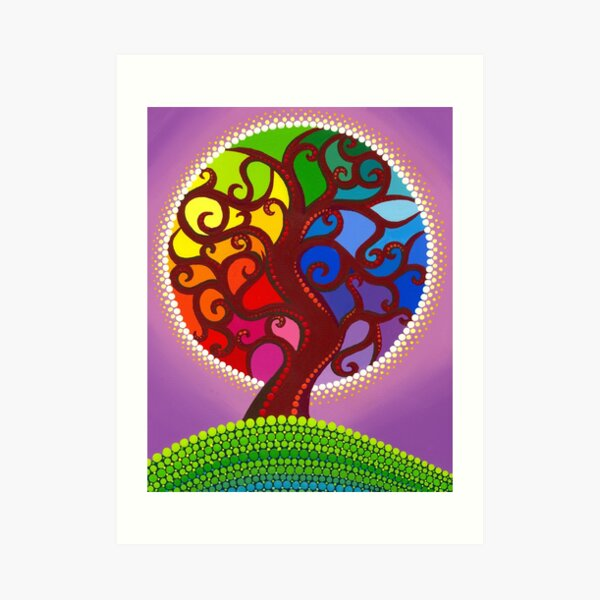 Rainbow Orb Tree of life Art Print