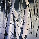 Aspen Trees in Winter- Watercolor Painting by Esperanza Gallego