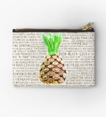 Psych Burton Guster Nicknames - Television Show Pineapple Room Decorative TV Pop Culture Humor Lime Neon Brown Zipper Pouch