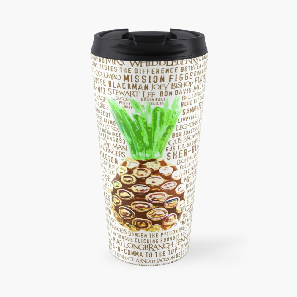 Psych Burton Guster Nicknames - Television Show Pineapple Room Decorative TV Pop Culture Humor Lime Neon Brown Travel Mug