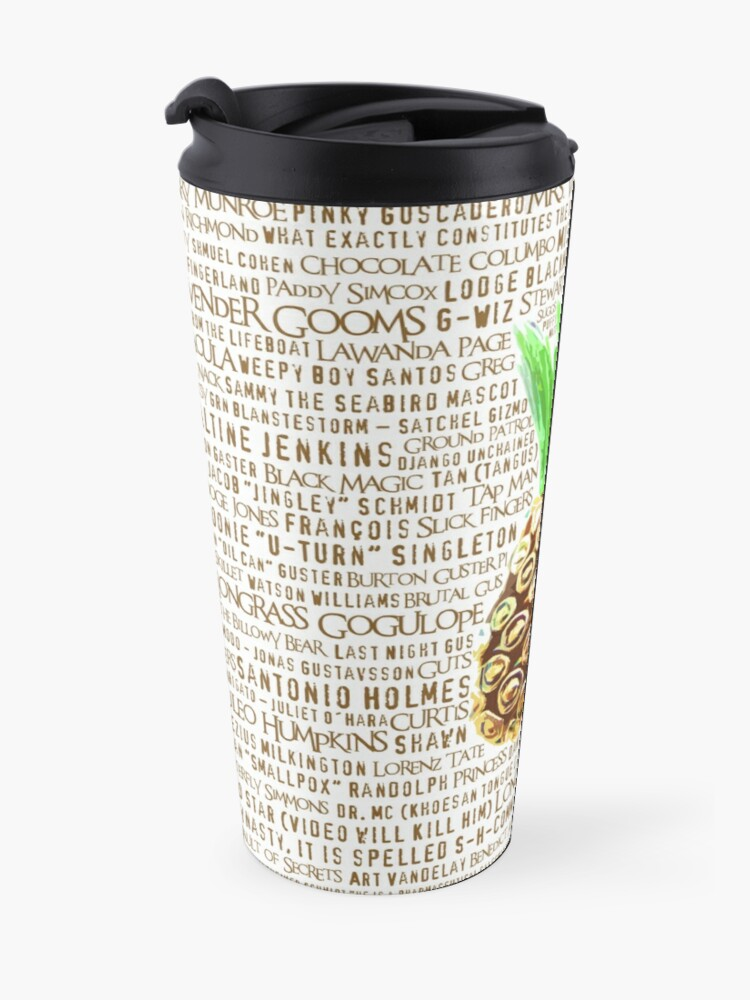 Alternate view of Psych Burton Guster Nicknames - Television Show Pineapple Room Decorative TV Pop Culture Humor Lime Neon Brown Travel Mug