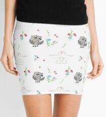 Cute loving raccoons and bunnies. Mini Skirt