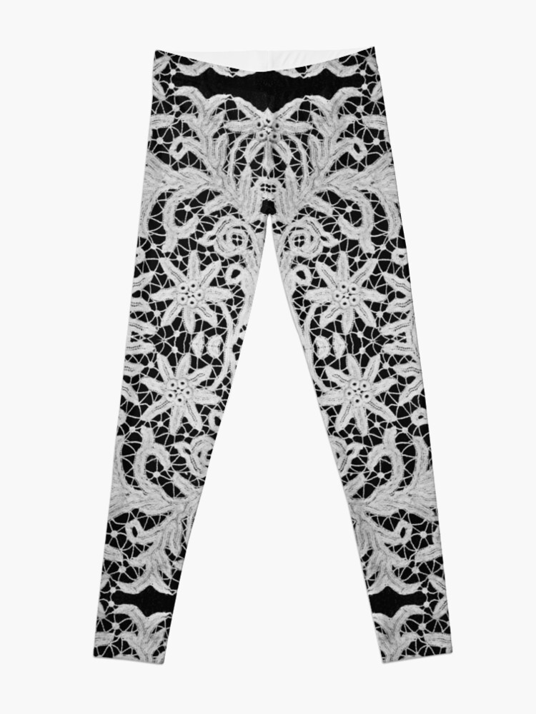 Alternate view of #Crochet #Antique #vintage #weaving lace patterns pattern decoration ornate abstract art Leggings