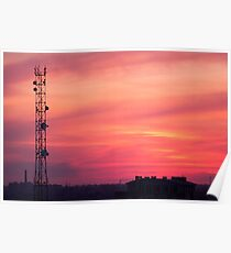 Cellular tower at sunset Poster