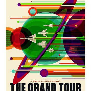 NASA Space Saturn Shuttle Retro Poster Futuristic Explorer by laurabethlove
