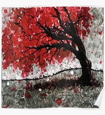 Red Fall Tree Dropping Leaves Poster