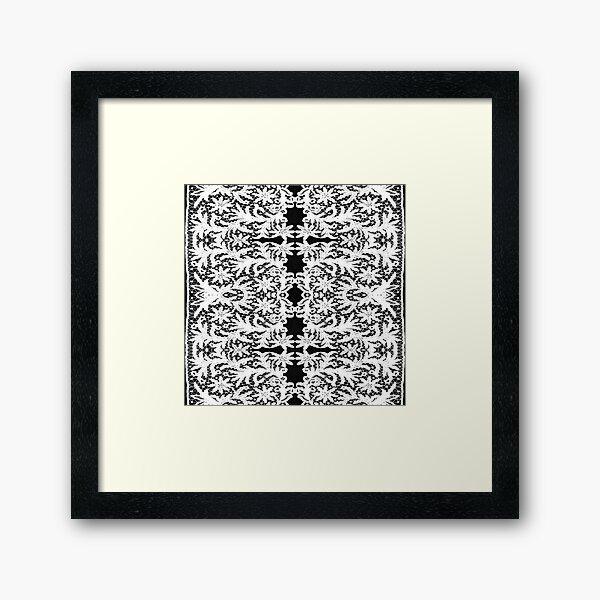 #Motif, #Visual, #arts, #Crochet #Antique #vintage #weaving #lace #patterns #pattern #decoration #ornate #abstract #art #textile #flower #repetition #design #gray #blackandwhite #monochrome Framed Art Print