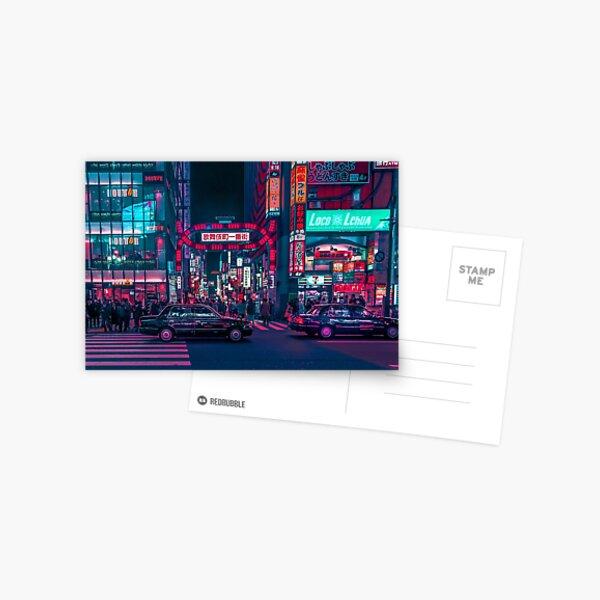 Cyberpunk Tokyo Street Postcard