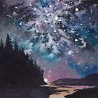 Night watercolor landscape. Pine forest, river, and stars.  by RedFinchDesigns