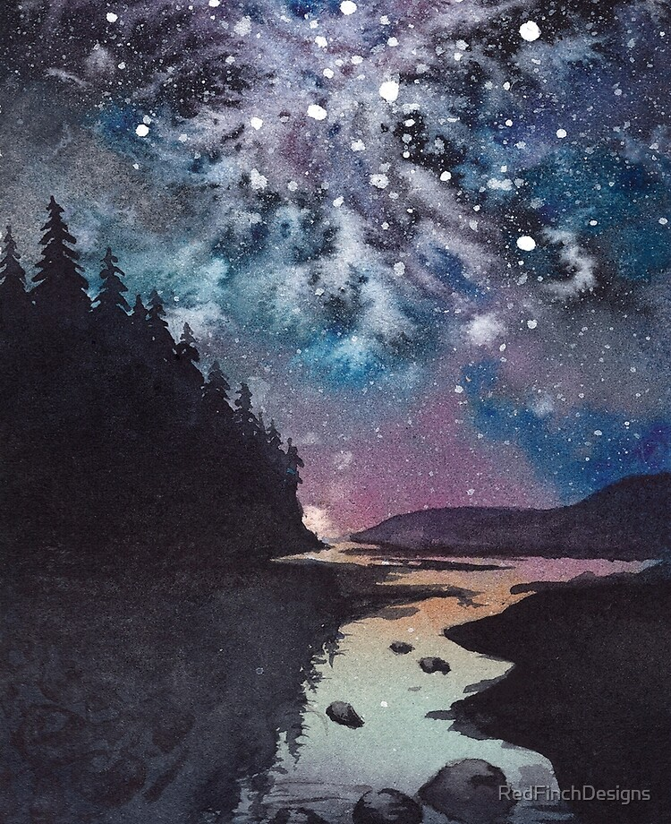 night watercolor landscape pine forest river and stars ipad case skin by redfinchdesigns redbubble redbubble