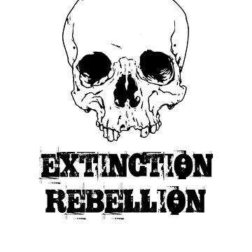 extinction rebellion skull eco environmental activist punk greenie hippie gift save the planet t shirt by Johannesart