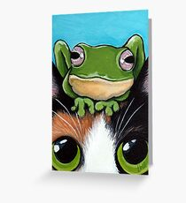 Tortie and Franklin - Cat and Frog Art Greeting Card